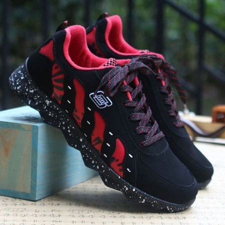 Fashion Men's Shoes Tide Black And Red Color Trend