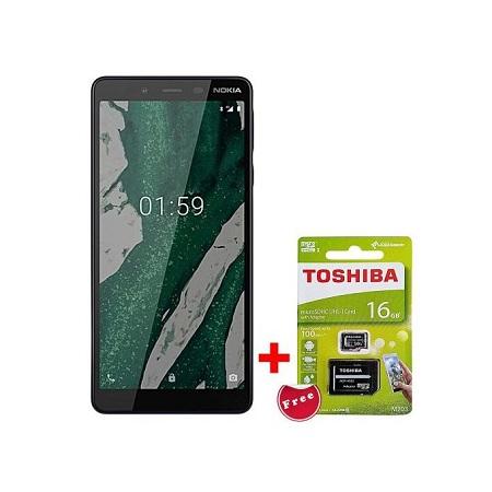 Nokia 1 Plus, 5.45 Inch, 8GB+1GB (Dual SIM), Black + Free Toshiba 16GB microSDHC Card