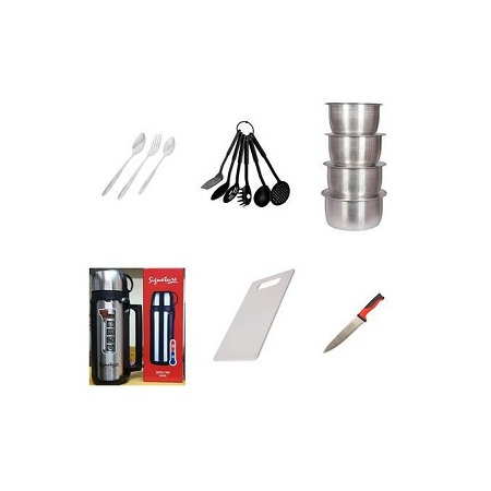 12 Table Spoons +12 Forks + 4 Sufurias +6 Nonstick Serving Spoons +1 Stainless Steel Flask +1 Chopping Board +1 Knife