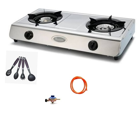 2 Burner Gas Stove -Stainless Steel (Silver)+ FREE Gas Regulator, Gas Pipe And Four Non Stick Spoons
