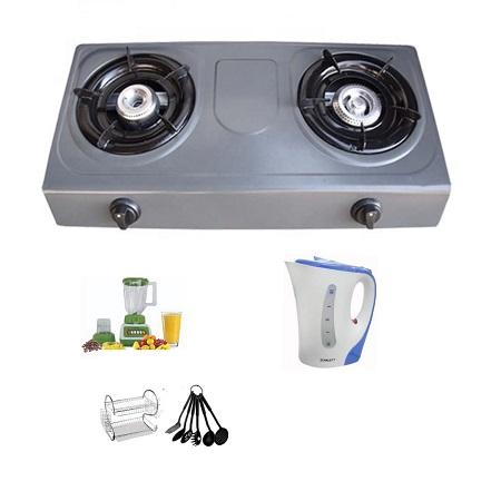 2 Burner Gas Stove + 1.7 Litre Electric Kettle + Two Tier Dish Rack + Crown Blender 1.5 Litres + Nonstick Kitchen Spoons