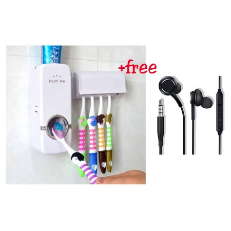 Automatic Toothpaste Dispenser And 5 Toothbrush Holder Set with a FREE Earphones