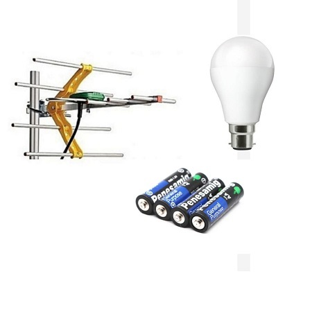 Digital Aerial,  Four Remote Batteries and free Economy Bulb