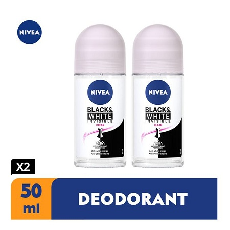 Nivea Black & White Clear Anti-Perspirant Rollon - 50ml (Pack Of 2)