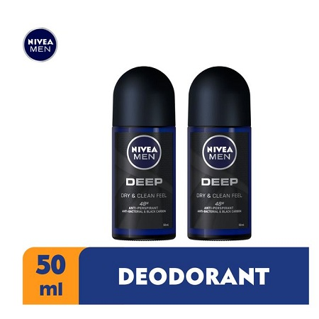 Nivea Men Deep Antibacterial Anti-Perspirant Rollon,48h - 50ml (Pack Of 2)