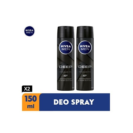 Nivea Men Deep Antibacterial Anti-Perspirant Spray, 48h -150ml (Pack Of 2)