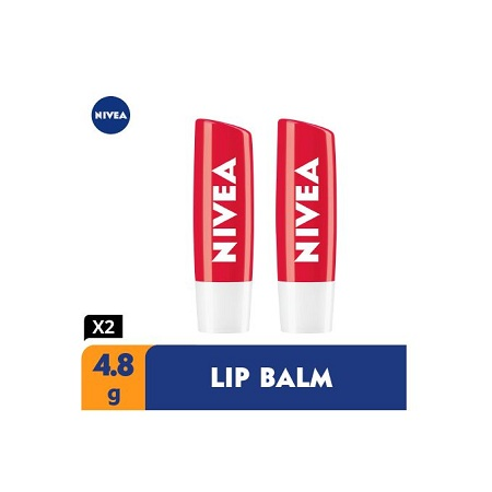 Nivea Strawberry Shine Lip Balm For Women - 4.8g (Pack Of 2)