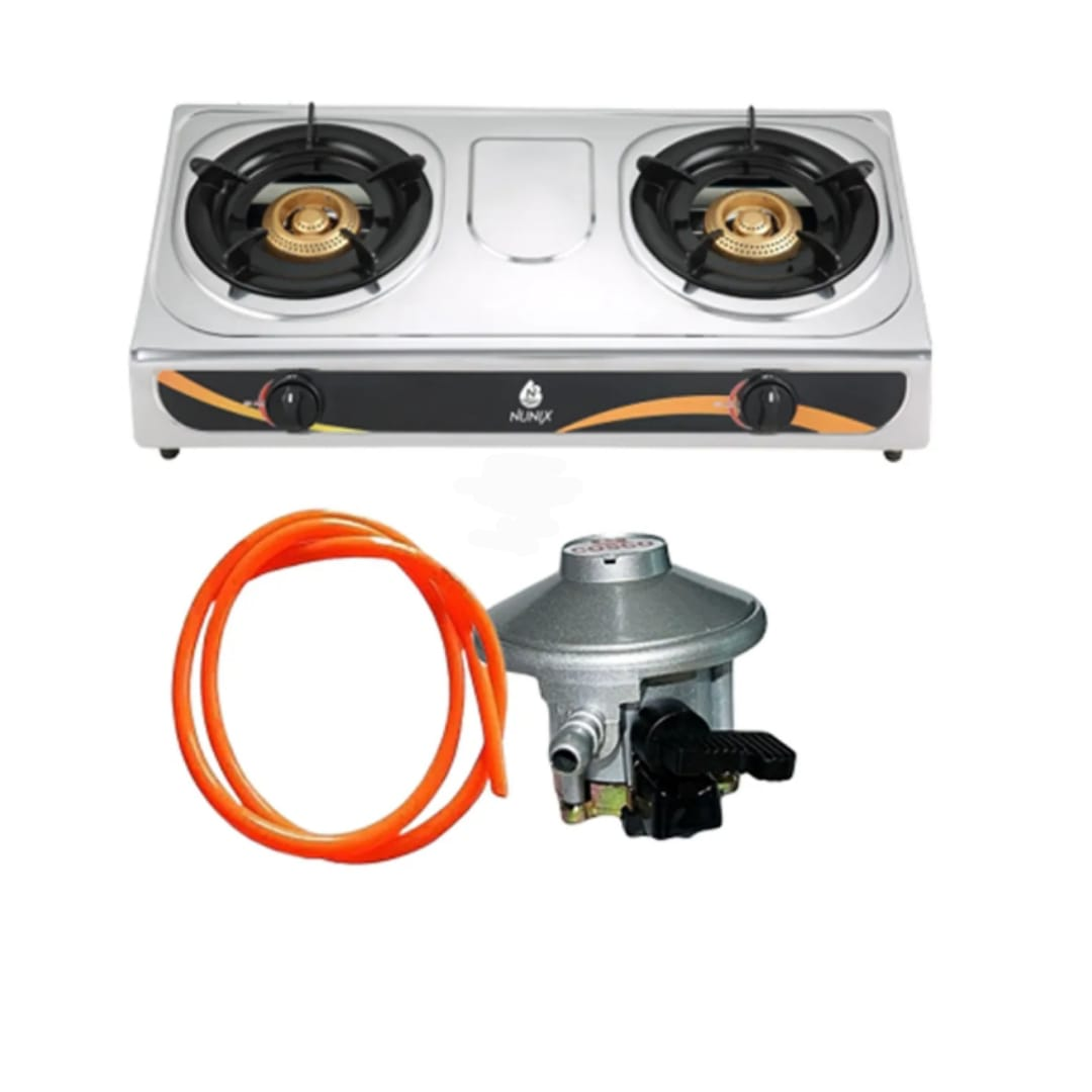 Nunix Table Top Gas Cooker Stainless Steel and free Gas Pipe and Gas Regulator