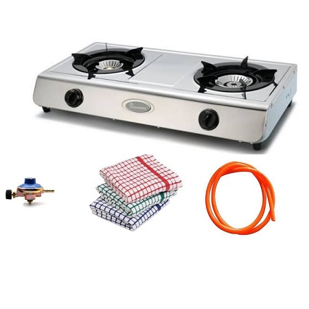 Rebune 2 Burner Gas,Stainless Steel (Silver)+ FREE Gas Regulator, Gas Pipe, And Kitchen Towels