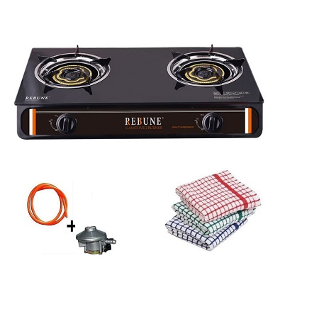 Rebune Glass Gas Stove, 2 Burner, Black plus FREE Gas Pipe, Gas Regulator And Kitchen Towels