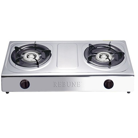 Rebune Stainless Steel Gas Stove, 2 Burner - Silver
