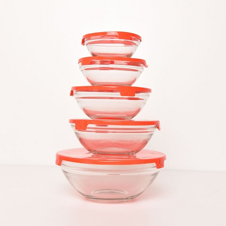 Transparent Glass Bowls 10pc Red