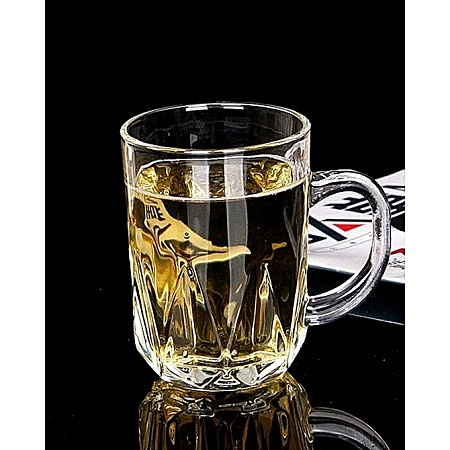 Clear Wedged Glass Mugs/Cups – Set of 6