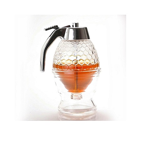 200ML Honey Syrup Dispenser Glass Pot - Transparent