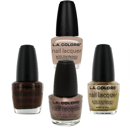 L.A. Colors Nail Lacquer -Sugar Plum +Grain +Chocolate Shimmer +Sheer Beige