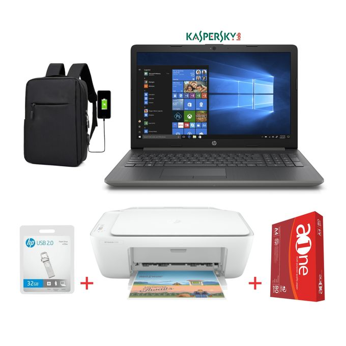 HP 15-Intel Celeron-4GB RAM-500GB HDD-Windows 10+Kaspersky-Black-Bag+HP 2320 Printer+32GB Flash