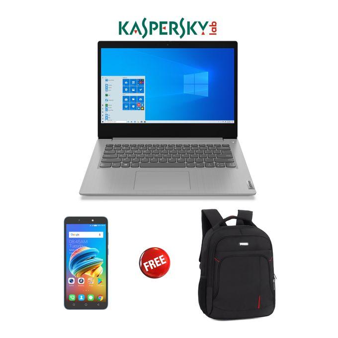 Lenovo Ideapad 3-Intel Celeron-1TB HDD-4GB RAM-Windows 10-Kaspersky-Grey+Free Bag+Smartphone
