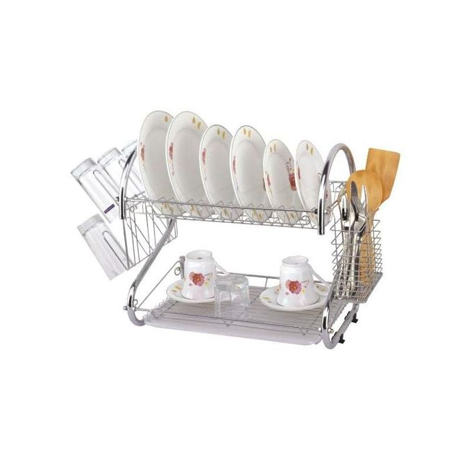 Generic 2 Tier Dish Drainer/Drying Rack - Stainless Steel