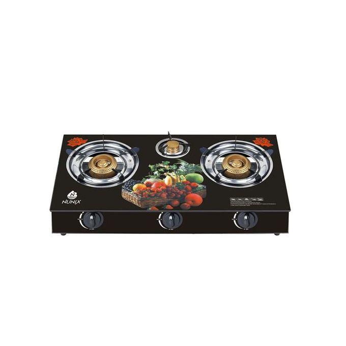 Nunix 3-Burner Table Glass Top Gas Cooker
