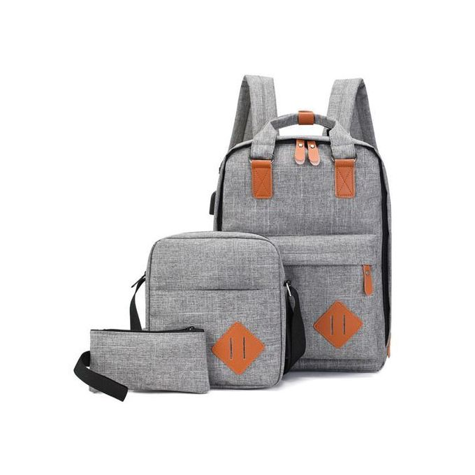 Generic 3in1 Anti-theft Canvas Laptop USB Backpacks - Grey