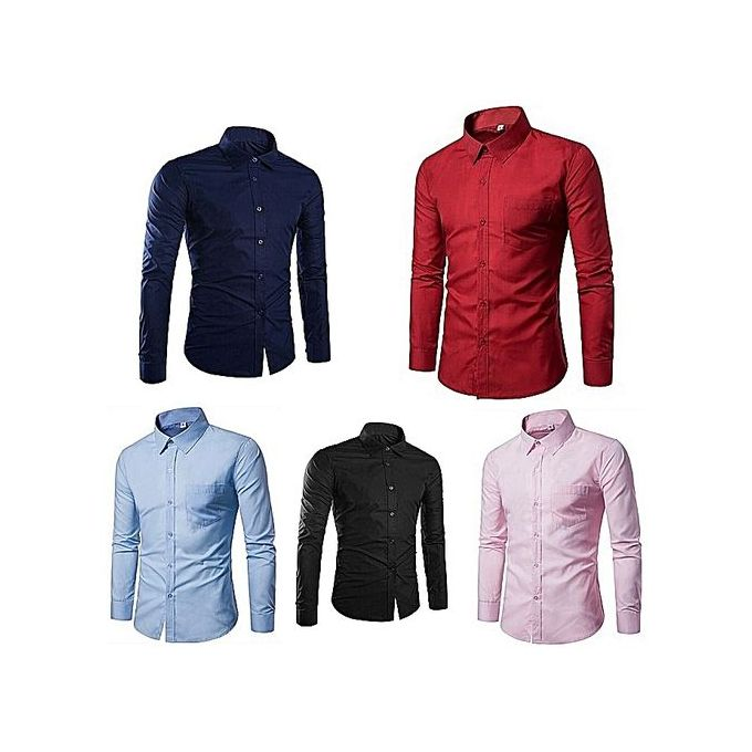 Fashion 5 Pack Men Shirts Official Slim fit 100% Cotton - - -