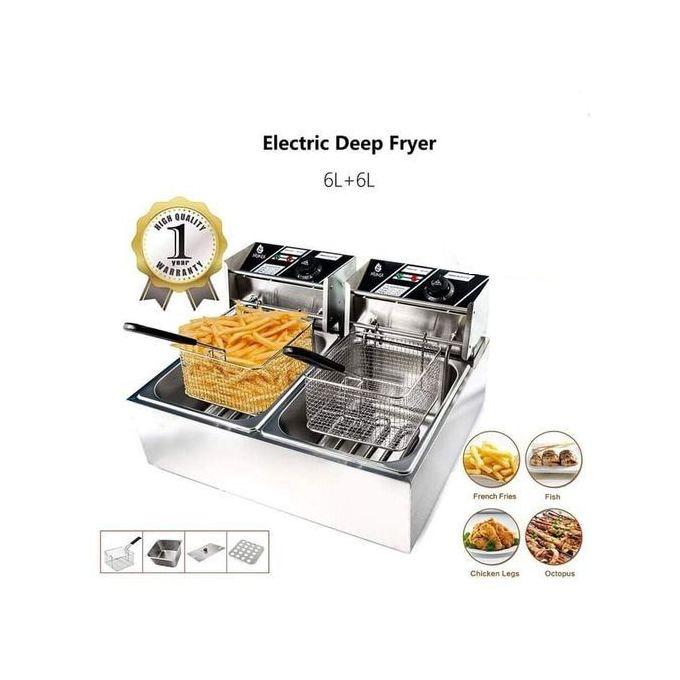 Nunix Commercial 6L+6L Large Double Stainless Steel Deep Fryer