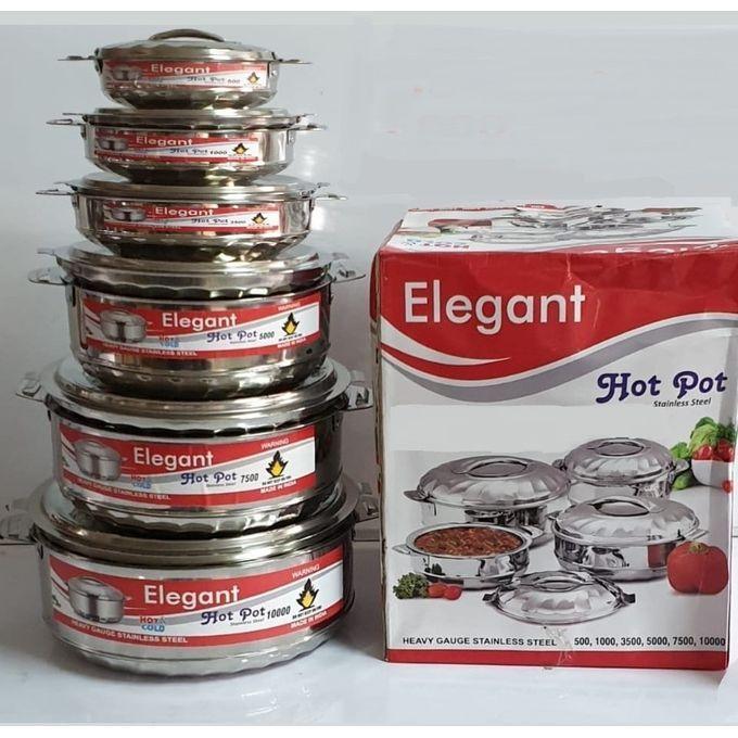 Elegant 6 Pieces Stainless Steel Food Serve Hot Pots/Casserole
