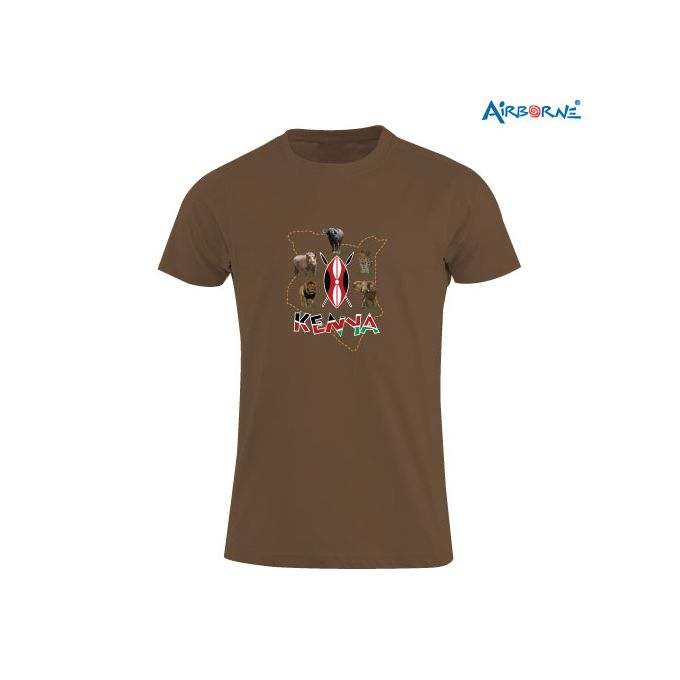 AIRBORNE Tourist Tshirt With Embroidered Big Five Kenya Map Outline + Shield