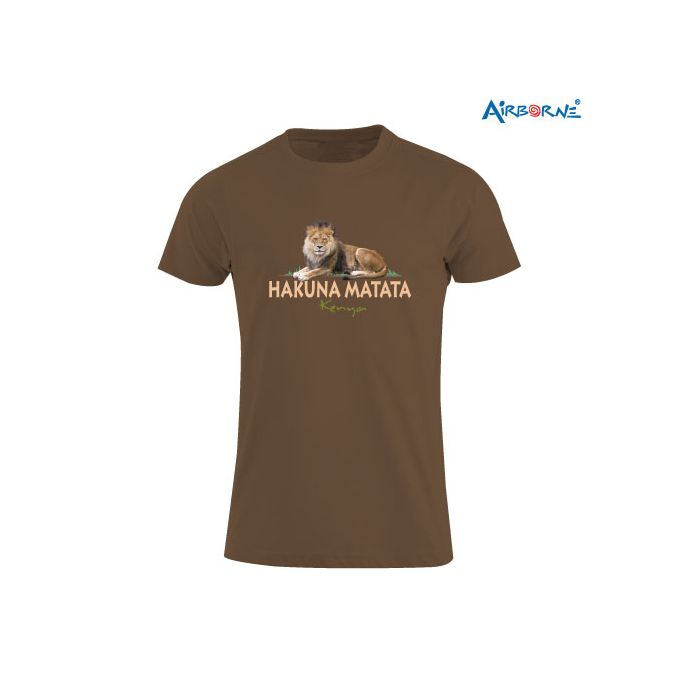 AIRBORNE Tourist Tshirt With Embroidered Hakuna Matata Kenya + Sitting Lion