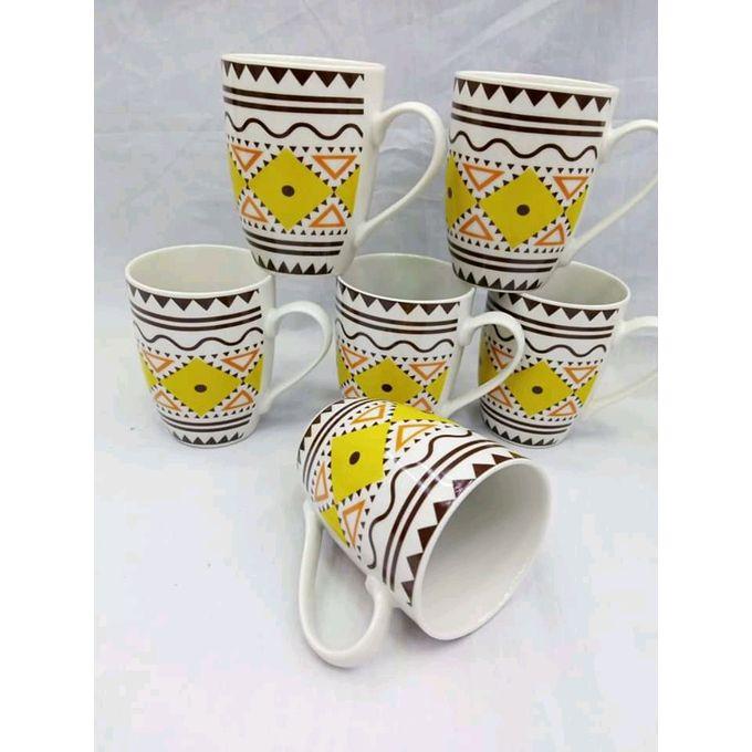 Generic Beautiful Classy Ceramic Mugs-365ml-Set Of 6