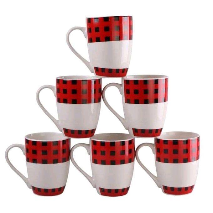 Classic Kitchenware Beautiful And Classy Ceramic Mugs Set - 6pcs- 385ml