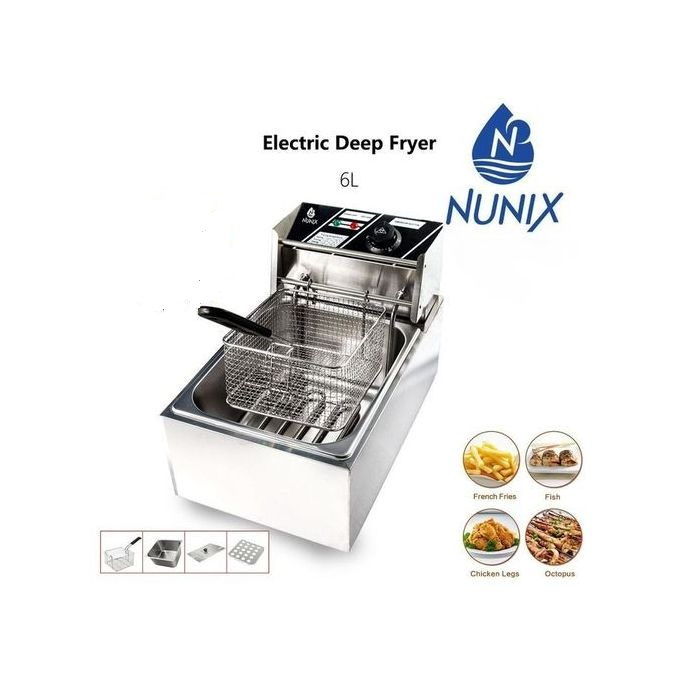Nunix Commercial Stainless Steel Electric Deep Fryer 6 Litres