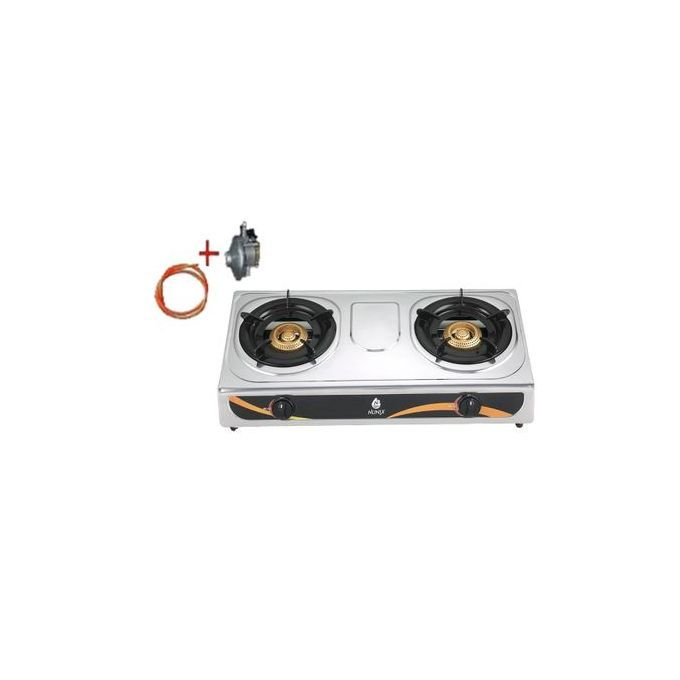 Nunix Stainless Steel Double Burners + Free Cable + Regulator