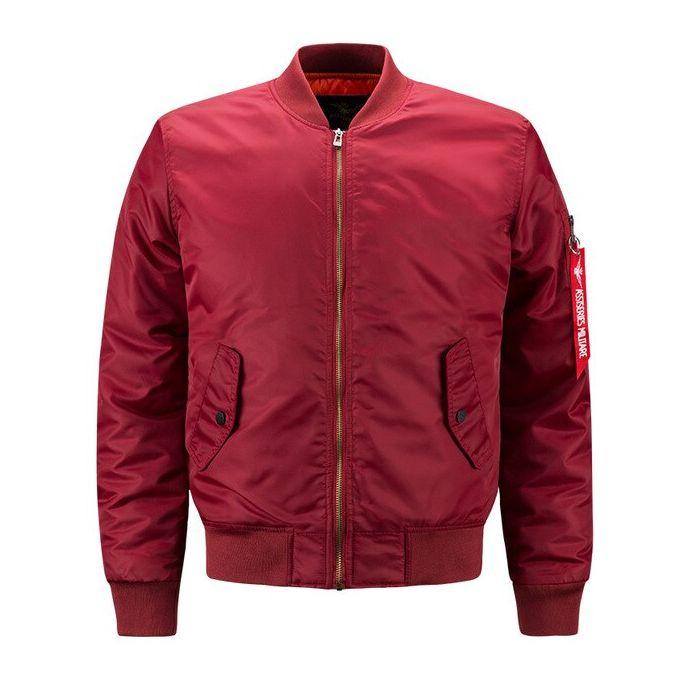 Fashion MA-1 Air Force Jacket Men Warm Padded Airborne Flight Winter Coat DJL-Red