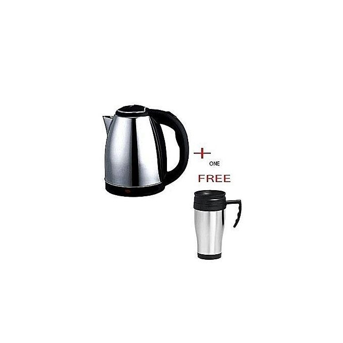 Scarlet Electic Kettle (Electric Cordless) 2 Litres + a FREE Travel Mug - Silver