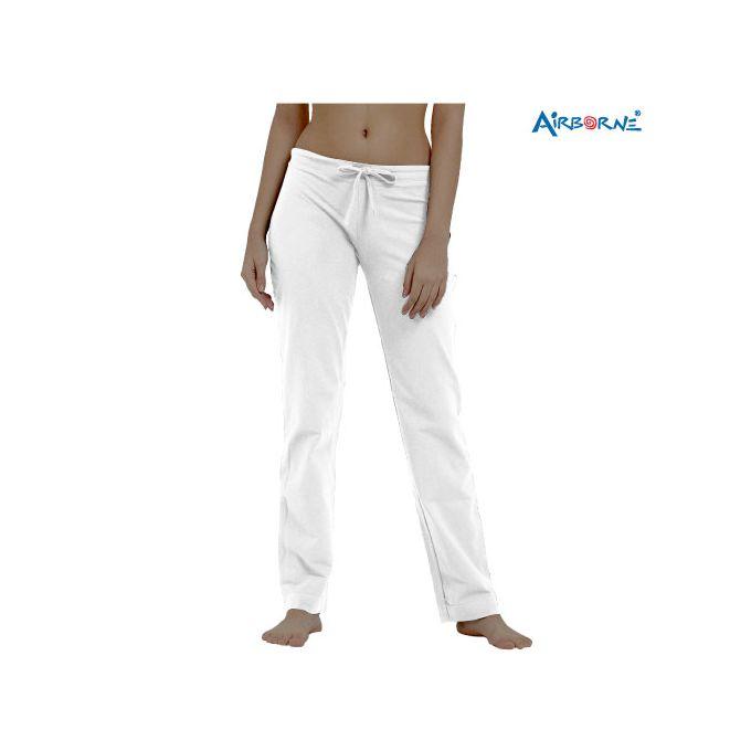 AIRBORNE LADIES OPEN LEG JOGGING / LOUNGE PANTS - WHITE -SIZES - M,L