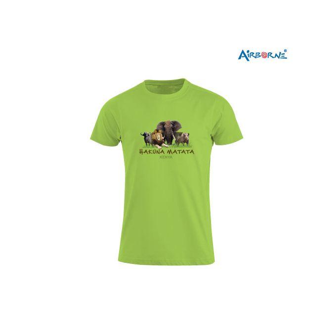 AIRBORNE Tourist Tshirt With Embroidered Big Five H/Matata Kenya + Elephant Head On Back
