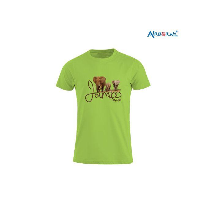 AIRBORNE Tourist Tshirt With Embroidered Jambo Kenya Elephants + Elephant Head On Back