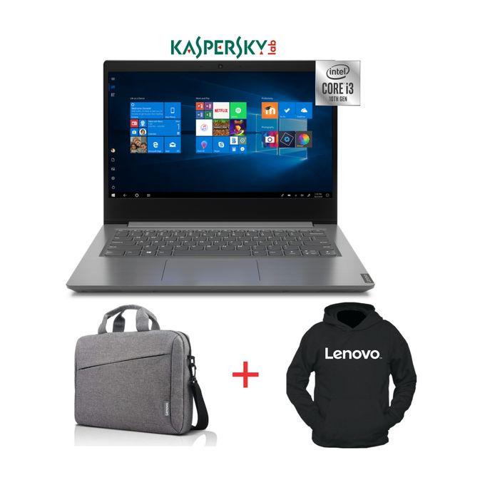 Lenovo V14-10th Gen Intel Core I3-1TB HDD-4GB RAM-Windows 10-Kaspersky-Grey-Bag+Hoodie