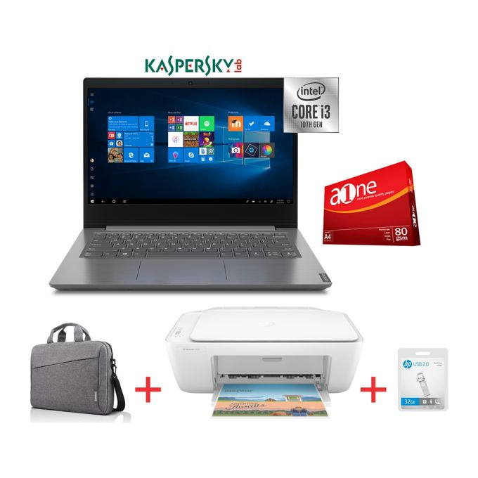 Lenovo V14-10th Gen Intel Core I3-1TB HDD-4GB RAM-Windows 10-Grey-Bag+HP 2320 Printer-32GB Flash Disk