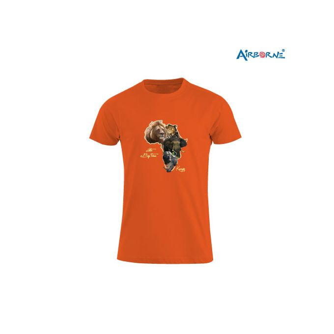 AIRBORNE Tourist Tshirt With Embroidered Big Five Kenya + Africa Map & Lion Head