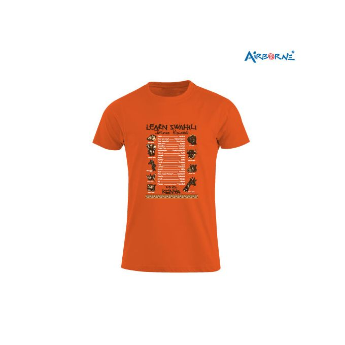 AIRBORNE Tourist Tshirt With Embroidered Learn Kiswahili