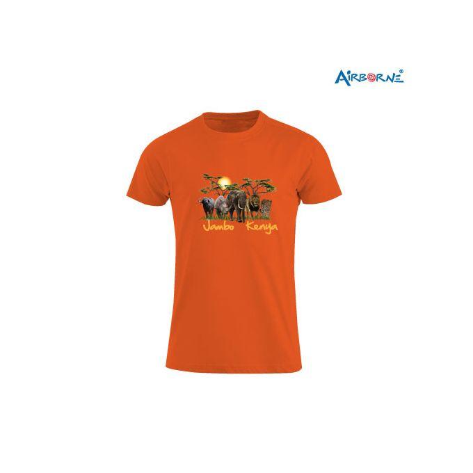 AIRBORNE Tourist Tshirt With Embroidered Jambo Kenya Big Five + Sun