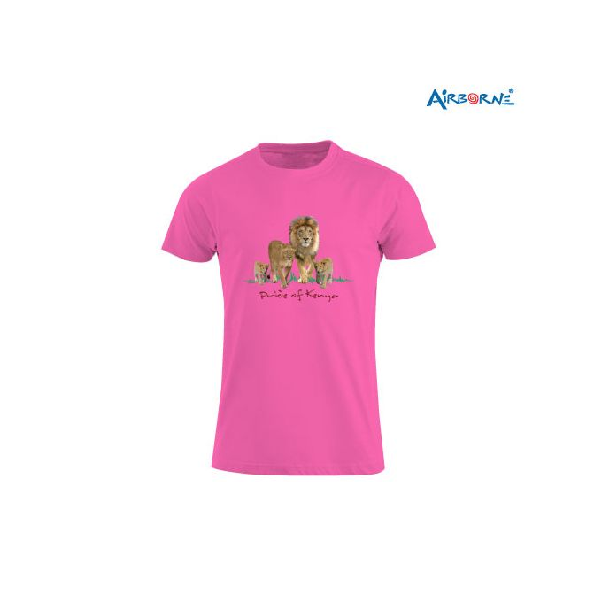 AIRBORNE Tourist Tshirt With Embroidered Pride Of Kenya + Lions