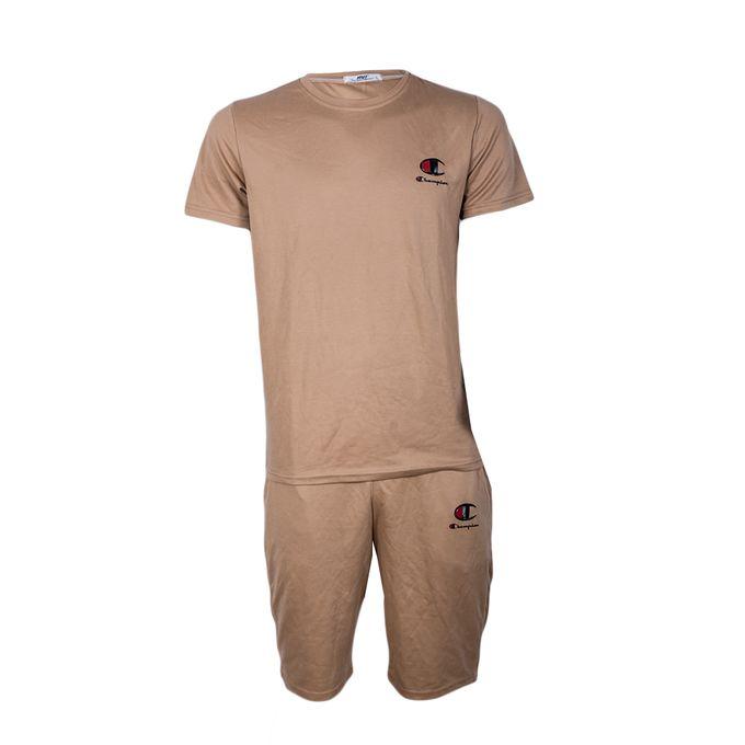 Fashion Matching Short And Tshirt-beige