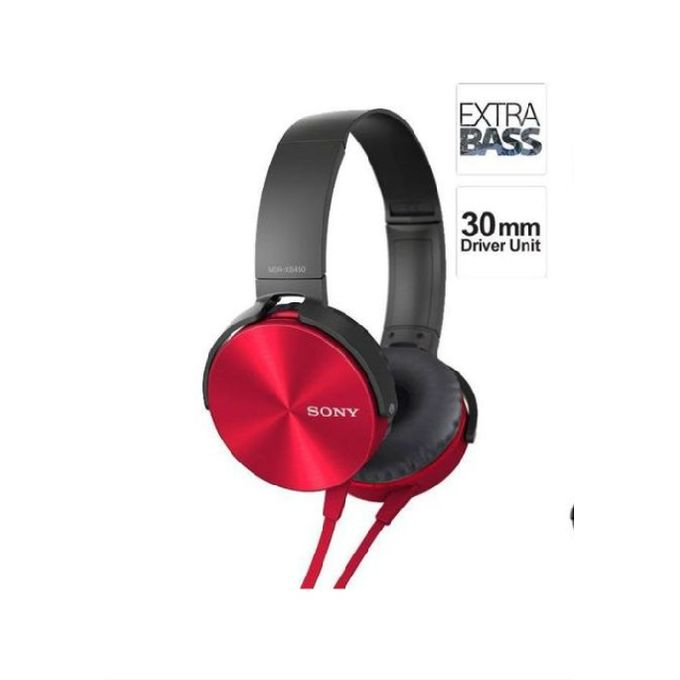 Sony On-Ear Extra Bass Wired Headphones - Red