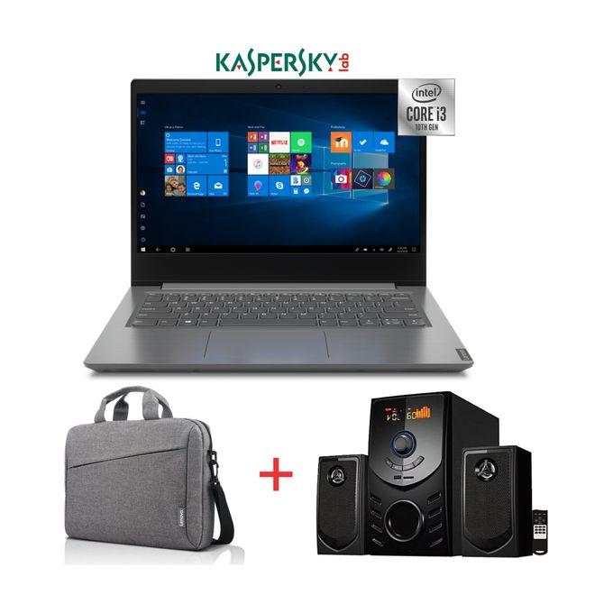 Lenovo V14-10th Gen Intel Core I3-1TB HDD-4GB RAM-Windows 10-Kaspersky-Grey-Bag+Woofer