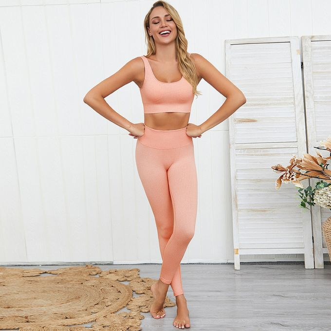 Fashion Yoga Seamless Workout Set Women Sports Bra And Legging - Orange