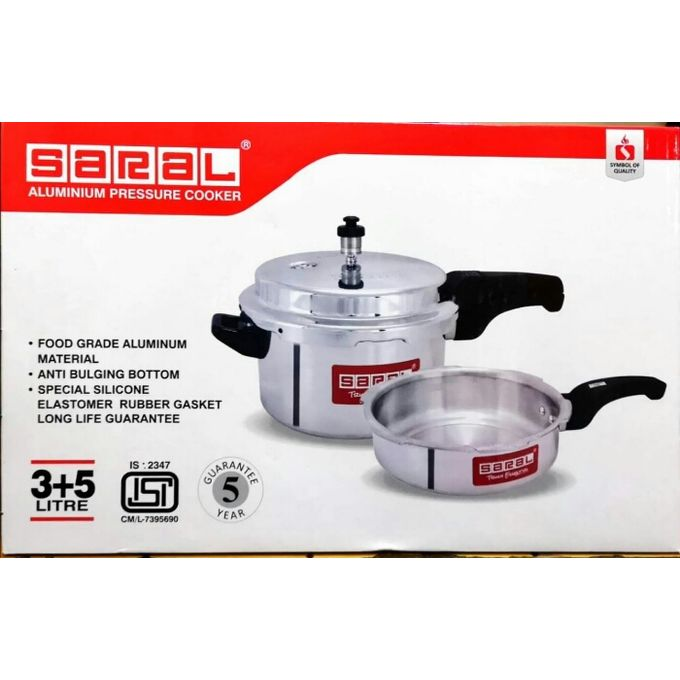 Saral Combo Aluminium Pressure Cooker 2pcs Set 3+5ltrs