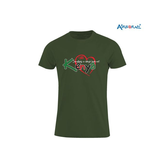 AIRBORNE Tourist Tshirt With Embroidered Someone In Kenya Loves Me